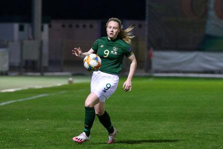 KYIV, UKRAINE - OCTOBER 23, 2020: UEFA Womens EURO 2022 Qualifying game Ukraine v Ireland at Obolon Arena in Kyiv. Amber Barrett (#9, IRL) in action