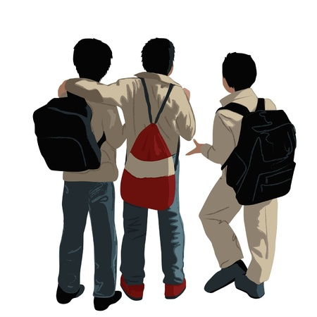 embraced: Three schoolboys stand having embraced on a white background Illustration