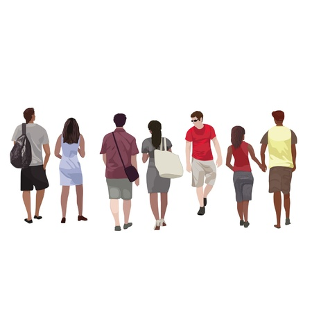 Group of young people on a white background Stock Vector - 12920611