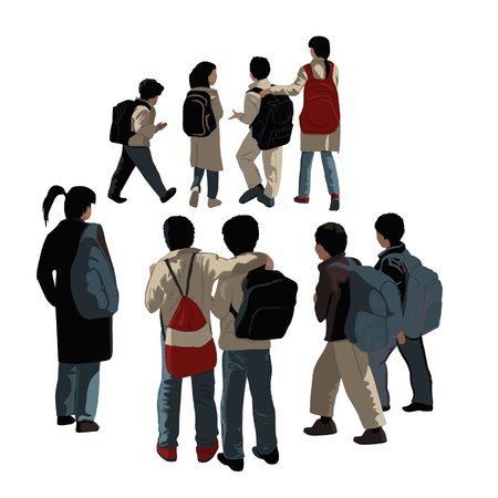 Group of school students on a white background Vector