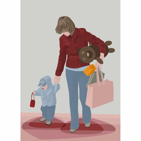Mother and the son with purchases Vector