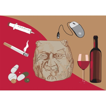 cigaret: the head of the demon, cigaret, syringe, tablets and alcohol