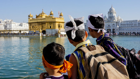 punjab: Children at  Golden Temple in Amritsar,Punjab ,India