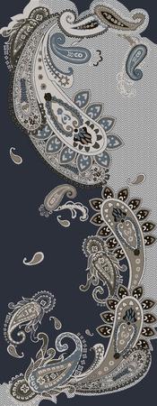 Beautiful paisley ornament pattern illustration. Çizim