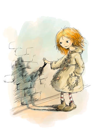 red haired: red-haired girl in an old coat looks at his shadow