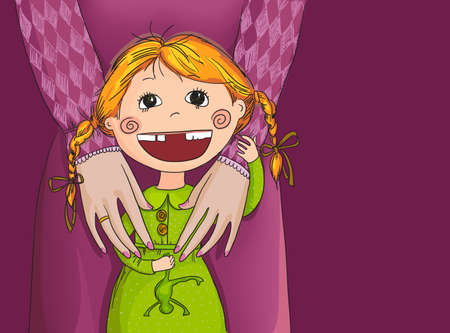 red haired person: Drawing little girl with her mother on a purple background