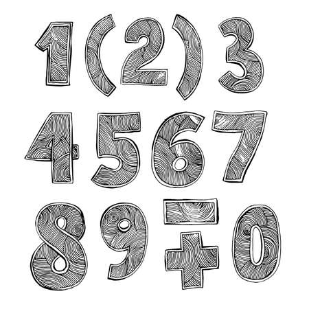numbers: Hand-drawn black and white numbers