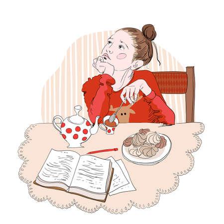 cocina caricatura: ni�a en un su�ter rojo se sienta beber t� y el sue�o