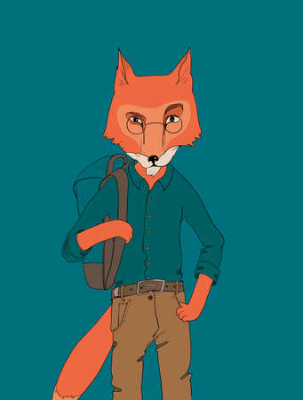 teen boy face: red fox in glasses in shirt and pants holding a backpack Illustration