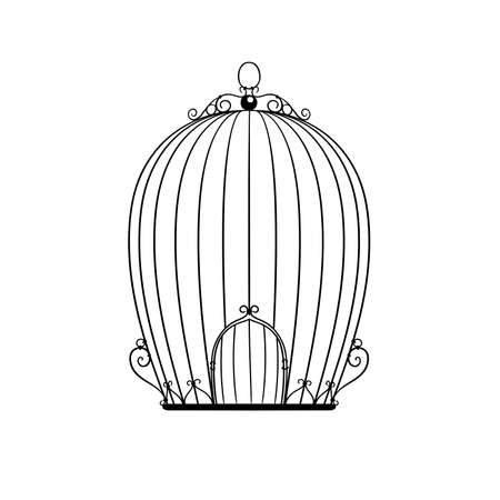 interior cell: silhouette patterned birdcage vector illustration