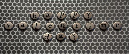 Feliz día de valentines con letras de cinta de metal con plata  Foto de archivo - 6195556
