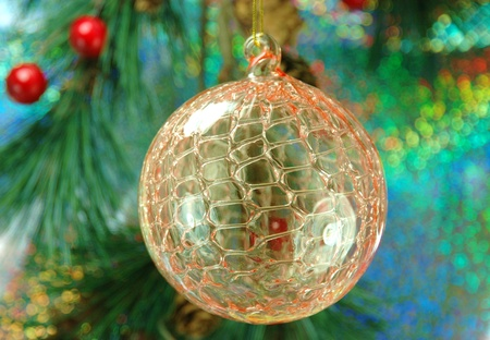 shiny background: A glass Christmas ornament with shiny background