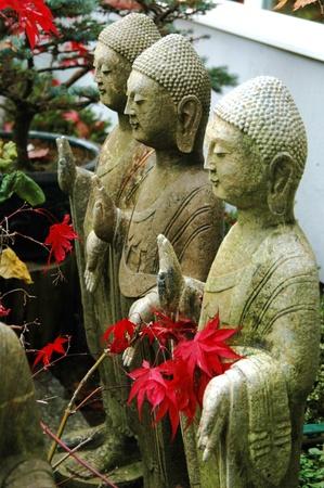 Multiple stone statues of spiritual figures