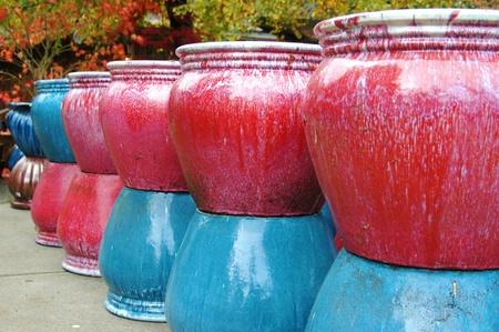 Colorful ceramic flower pots