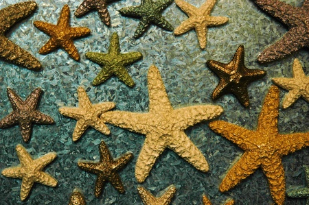 Collection of starfish against metal background Stok Fotoğraf