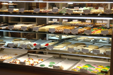 A display of baked goods in a bakery