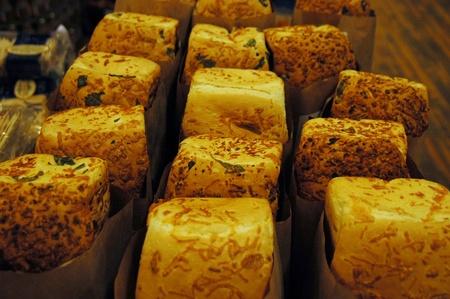 Fresh loaves of break in a bakery