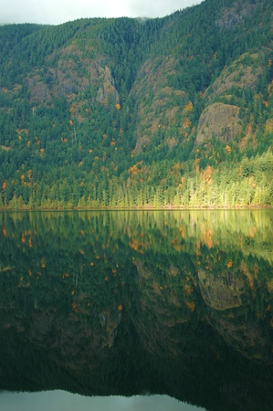A scenic reflection of mountain, trees and lake
