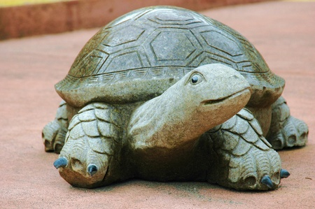 A turle statue carved in stone
