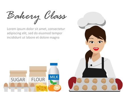 Young professional chef woman in uniform with smiling face holding cake in kitchen. Isolated on white background. Vector Illustration.Idea for bakery class, culinary school business. Vector Illustration