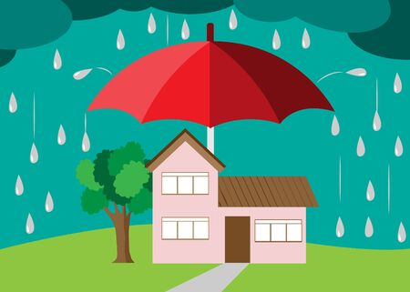 Home safety concept. Big umbrella protecting a beautiful house from raining and storm. Vector Illustration. Isolated on dark clouds background.