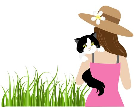 Young beautiful woman in causal dress holding and comforting her lovely black and white tuxedo cat in arms on green grass. Isolated in white background. Vector Illustration.