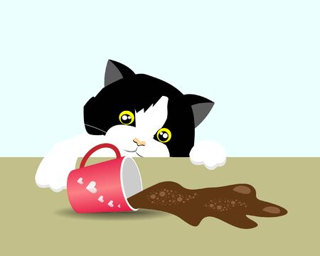 Curious adorable tuxedo cat spilled coffee on table. Isloated on light blue background. Vector Illustration. Idea for funny bad cat behavior/instinct. Foto de archivo - 150173216