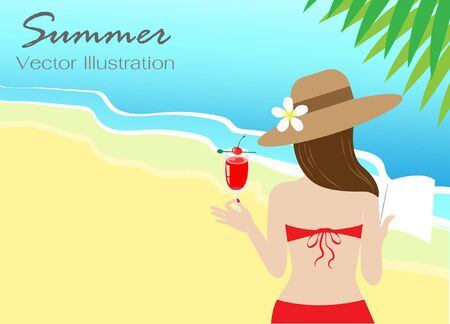 Young beautiful woman in red bikini holding book and cocktail drink on beach background. Isolated flat design with copy space. Vector Illustration. Idea for travelling, summer and holiday vacation.