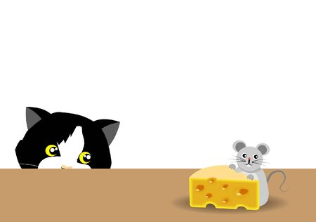 Small mouse eating cheese on table while adorable tuxedo cat hiding at corner. Isloated on whilte background. Vector Illustration. Idea for cat's hunting instinct and behavior. Ilustración de vector