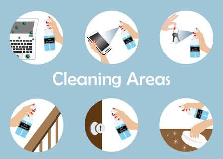 Woman and Infographics of sanitize cleaning areas for 75% alcohol spraying on computer, phone,key, handrail,door knob and table. Idea for hygiene cleaning for COVID-19 corona virus protection and prevention.