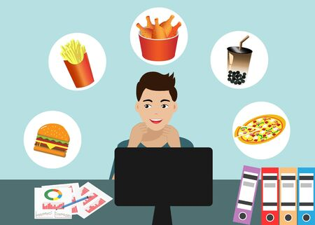 Man working at desk in office, thinking about foods with hungry. Vector Illustration.