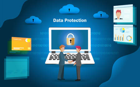 Businessman ensure customer about data security on digital financial transactions and information. Idea for e-kyc, data protection against digital online cyber crime and financial security concept. 版權商用圖片 - 156516132