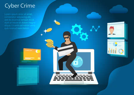 Hacker stealing credit card, financial information and gold coins from computer. Idea for digital online cyber crime, hacking, phishing, scam, malware and financial security concept. 向量圖像