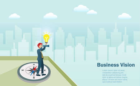 Business goal, vision and strategy concept. Businessman standing on compass at top of buildings with binocular and lightbulb searching for successful strategic direction