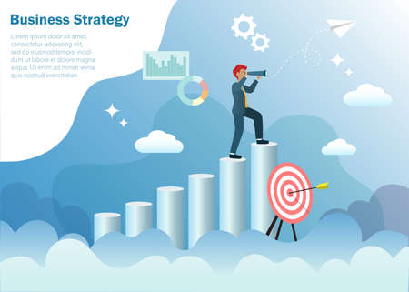 Business goal, vision and strategy concept.Businessman standing at top of graph in cloudy sky with binocular searching for successful target direction of strategic solution and growth financial profit