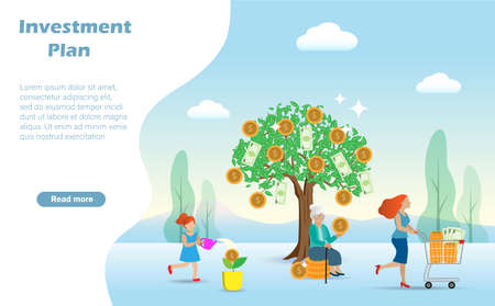Little kid girl shower water on little money tree and become big gold coins tree when she grow up. Idea for growth profit investment and long term financial preparation planning for future concept.
