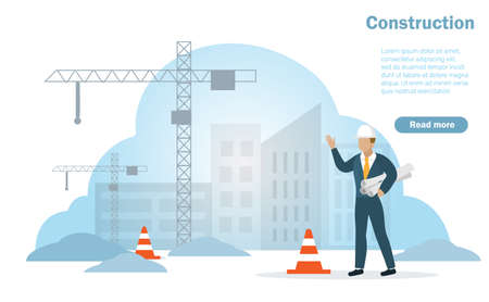 Professional architecture or civil engineering holding blueprints at construction site with under construction buildings and industrial cranes background. Vector Illustration. Çizim