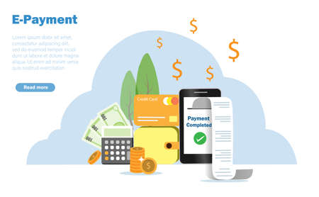 Money purse, credit card and calculator with billing receipt printed out from smartphone. E-payment, digital billing and financiial technology concept. Vector Illustration.