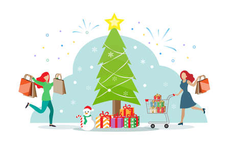 Happy woman with shopping cart enjoy shopping during Christmas sale with Chrismas tree and gifts background. People lifestyle on festive holiday concept. Ilustrace