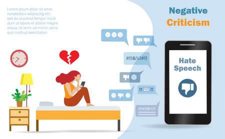 Cyber bullying, online shaming, hate speech and negative criticism concept. Woman crying in her bedroom when seeing hate speech from online social network on smartphone. Vector ILlustration. Illusztráció