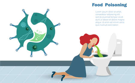 Sick woman suffering from contaminated food vomiting in lavatory pan in toilet. Contaminated foods, food poisoning and food safety concept.