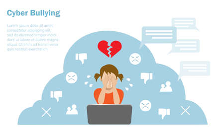 Cyber bullying, negative criticism, hate speech concept. Little girl crying in front of computer when seeing hate speech from online social network. Vector ILlustration.
