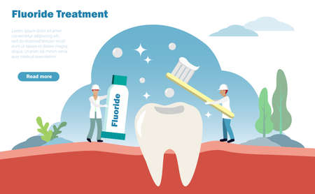 Dental treatment and oral healthcare concept. Dentists do fluoride treatment to patient dent. Vector Illustration. Illustration