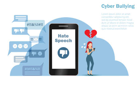 Cyber bullying, negative criticism, hate speech concept. Teenage girl crying when seeing hate speech from online social network on smartphone. Vector ILlustration.