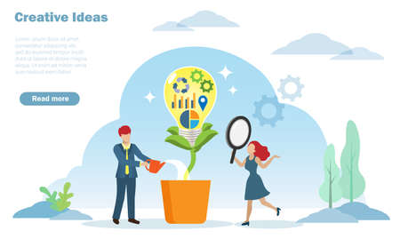 Businessman showeringing creative thinking ideas in lightbulb. Inspiration, innovation and growth target direction of successful business strategy concept.