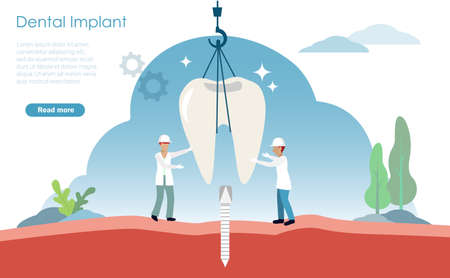 Dental implant and oral healthcare concept. Dentists use construction crane fixing tooth implant to patient gum with artificial root. Vector Illustration.