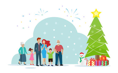 Happy big family, married couple with children and elderly in front of Christmas tree and gift boxes.  Idea for greeting season on Christmas holiday. Poster, banner, template design concept.