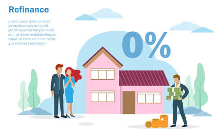 Bank officer offering 0% interest rate to family couple, husband and wife infront of beautiful house. Idea for home loan, refinance house or estate mortgage. Illustration