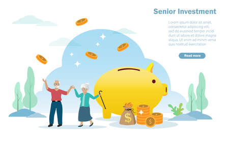 Happy senior/retirement couple enjoy saving money on piggy bank. Long term investment fund and financial preparation for elderly people concept.