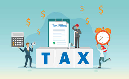 Income tax filing, tax return and financial concept. Businessman get confused on his tax filing form and receipt.